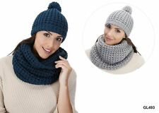 LADIES WOOLLY KNITTED WARM SLOUCH BOBBLE POM POM WINTER BEANIE HAT GL493