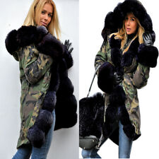 NEW ROIII WOMENS LADIES MILITARY CAMOUFLAGE HOODED PARKA ARMY JACKET TRENCH COAT