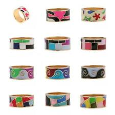 9mm Gold Plated Alloy Rings Men/Women's Wedding Band Colorful Enamel Size 7