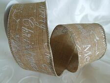 """MAY ARTS RIBBONS~Vintage Inspired~MERRY CHRISTMAS ON LINEN~SILVER~2.5"""" X 1 YARD!"""