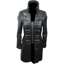Black WOMEN SHEEP Leather Goth Matrix Trench Coat Steampunk Military Jacket -T22