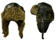 Tartan Winter Trapper Hat Mens Womens Aviator Soft Fleece Faux Fur Ski Snow Cap