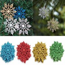 10cm Glitter Snowflake Christmas Ornaments Xmas Trees Hanging Decoration Gifts