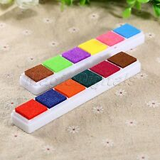 6 Color Oil Based Ink Pad DIY Craft Ink Pad Rubber Stamps for Fabric Wood Paper