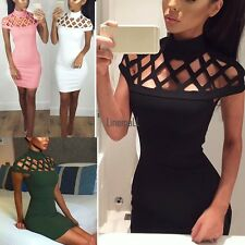 Women Choker High Neck Bodycon Ladies Caged Sleeves Mini Dress US Size 4-12 LM