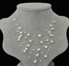 Fashion 4-8mm Beads Natural Freshwater Pearl Starriness Bride Necklace Jewelry