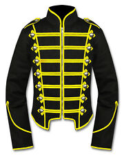 Men Yellow/Black Handmade Military Marching Band Drummer Jacket New Style