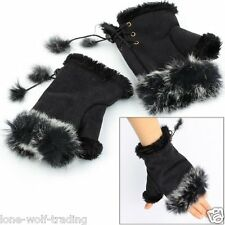 Ladies Fingerless Fur Hand Warmer Gloves