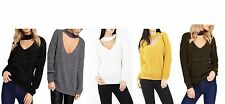 Womens Choker Neck Cut Out Knited Jumper Lurex Glitter Chunky Ladies Sweater Top