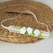 Lace baby hairband for christening, skinny headband with white flowers handmade