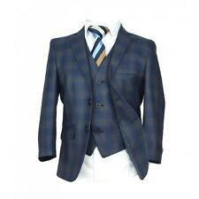 Checkered Blue Gold Page Boy Suit Italian Cut Boys Formal Wedding Prom Boys
