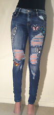 New Womens Ladies Skinny Front Ripped Butterfly Crushed Denim Jeans Sizes 6-14