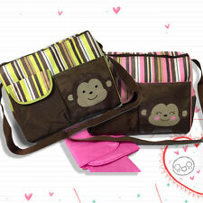 Multifunctional Baby Diaper Nappy Changing Bag Mummy Women Pad Handbag Monkey