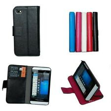 4X -Luxury Flip Leather Wallet Cover Case for BlackBerry Z10 2-credit card Slots