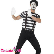 Gentleman Mime French Artist Costume Circus Act Mens Fancy Dress Outfit