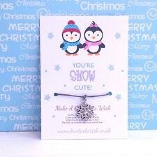 You're Snow Cute! Christmas Wish Bracelet/Snowflake Charm/Stocking Filler Gift