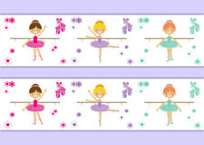Ballerina Room Decor Baby Girl Nursery Wallpaper Border Wall Art Decals Stickers