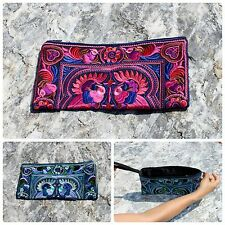 Thai Hippie Boho Ethnic Hmong Floral Embroidered Zip Clutch Evening Bag Purse