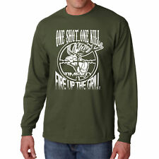 Long Sleeve One Shot S Kill T Shirt Funny Hunting Tee Fire Grill Deer Hunter New