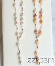 N1610090b  32'' natural 9-10mm Edison Nucleated Flameball Baroque Pearl Necklace