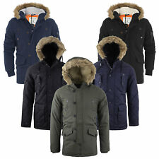 Mens Tokyo Lee Liam Parka Parker Padded Lined Winter Jacket Faux Fur Hooded Coat