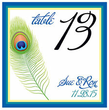 10 Custom Peacock Feather Table Numbers - Wedding / Shower - Personalized Cards