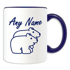 Personalised Gift Simple Drawing Polar Bear Mug Money Box Cup Animal Design Name