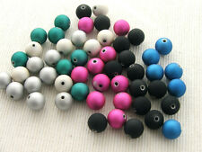 60 x 10mm Round Rubberized Satin Acrylic Beads for crafts & jewellery