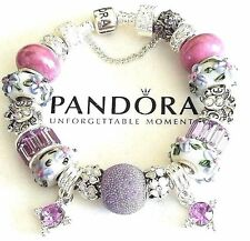 NEW Authentic PANDORA Sterling Silver BRACELEt with European CHARMs & Beads #28
