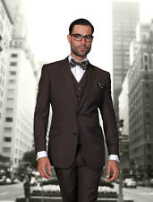 BRAND NEW BROWN MENS 3PC 2 BUTTON SUIT,VESTED & PLEATED PANTS