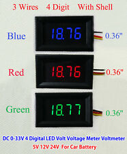 Digital LED Voltmeter Volt Voltage Meter shell 5v 12V 24v Car Battery 3 wires
