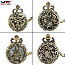Antique Bronze Hollow Pendant Vintage Pocket Watch Quartz Necklace Xmas Gift New
