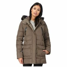 Maine New England Womens Taupe Faux Fur Trim Hooded Jacket From Debenhams