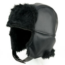 Vinyl Fur Trimmed Trooper Hat with Insulated Ear Flaps