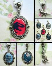 JURASSIC WORLD CLIP ON CHARM OR NECKLACE DINOSAUR PARK T-REX EARRINGS