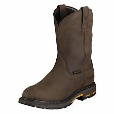Ariat Men's Workhog Pull-on H2O Work Boot oily Distressed Brown-10001198-NIB