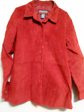 Jessica Holbrook Womens Red Washable Suede Jacket Size L