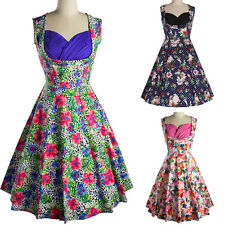 Womens Vintage 1950s Rockabilly Evening Party Cocktail Ladies Floral Swing Dress