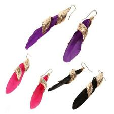 Stunning Boho Metal Feather Long Dangle Drop Earring Chic Accessory 3 Colors