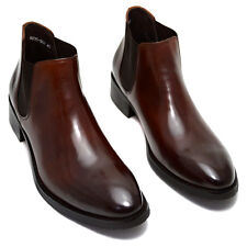 Mens Cow Leather Brogue Ankle Boots Fashion Formal Dress Chelsea Boots Shoes New
