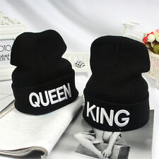 KING QUEEN Embroidery Beanie Bed Head Knit Unisex Fashion Hat Couple Gifts JB