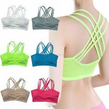 Women Workout Yoga Gym Sports Seamless Bra Solid Bandage Bra Tank Top Padded Hot