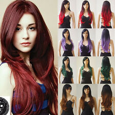 "28"" Long Straight Ombre Full Wig Cosplay Costume Wig with Bangs Heat Resistant"