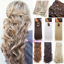 8PCS Full Head Clip In Hair Extension Remy Long Straight Human Natural Hair 22H