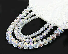 20-100Pcs White AB Crystal Gemstone Loose Beads Jewelry Finding Craft 4/6/8/10MM