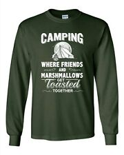 Long Sleeve Adult T-Shirt Camping Where Friends And Marshmallows Get Toasted DT