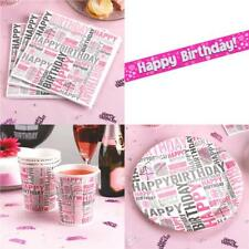 Pink Happy Birthday Tableware - Party Set - Cups Banner Napkins Banner Plates
