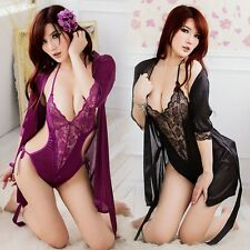 Sexy Lingerie Silk Sleepwear Nightwear Kimono Robe Silk Satin Bathrobe Gown