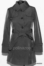 GUESS summer coat Jacket Belted Funnel Neck Black Trench Coat SMALL size OBO