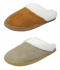 Womens Ladies Cosies Micro Suede Fluffy Fur Mules Slippers TAN BEIGE Size 3-8
